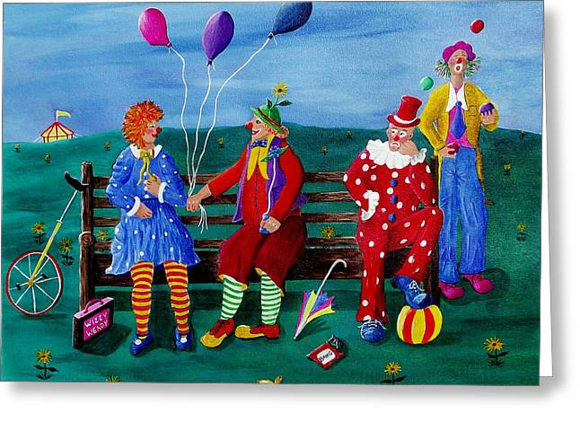 The Clowns Greeting Card by Sandy Wager