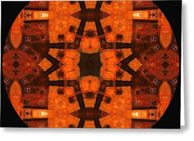 The Color Orange Mandala Abstract Greeting Card by Georgiana Romanovna