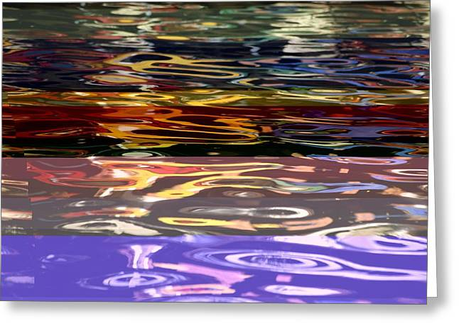 The Colorful Riverwalk Is Reflected Greeting Card