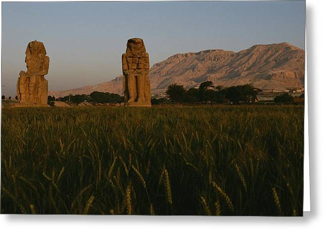 The Colossi Of Memnon, Statues Greeting Card by Kenneth Garrett