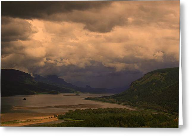The Columbia River  Looking Up Stream Greeting Card