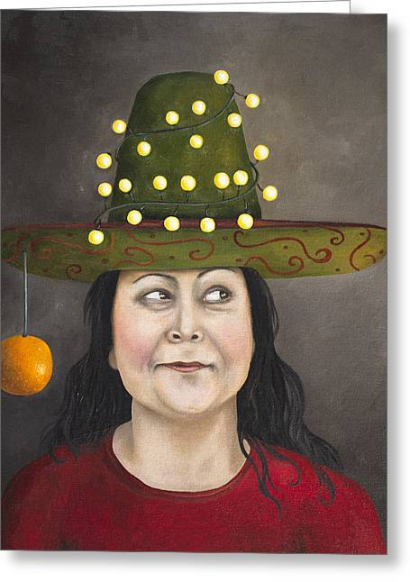 The Competitive Sombrero Couple 1 Greeting Card by Leah Saulnier The Painting Maniac