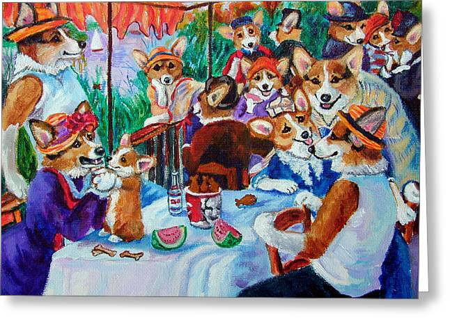 The Corgi Boating Party After Renoir  Greeting Card by Lyn Cook
