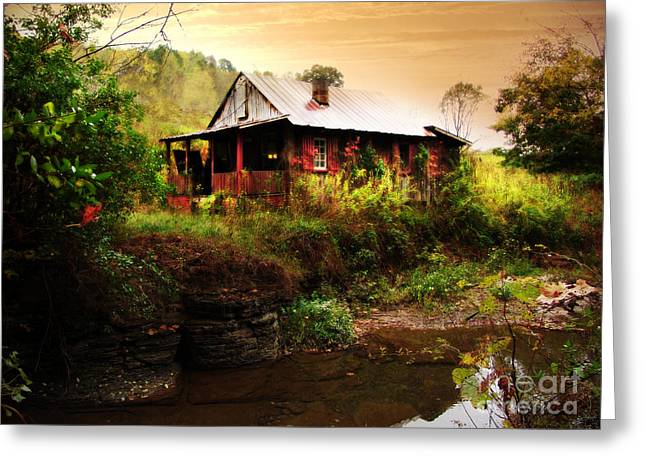 The Cottage By The Creek Greeting Card by Lj Lambert
