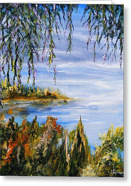 Greeting Card featuring the painting The Cove by Karen  Ferrand Carroll