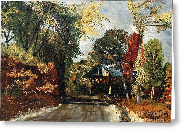 The Covered Bridge Greeting Card by Elena Irving