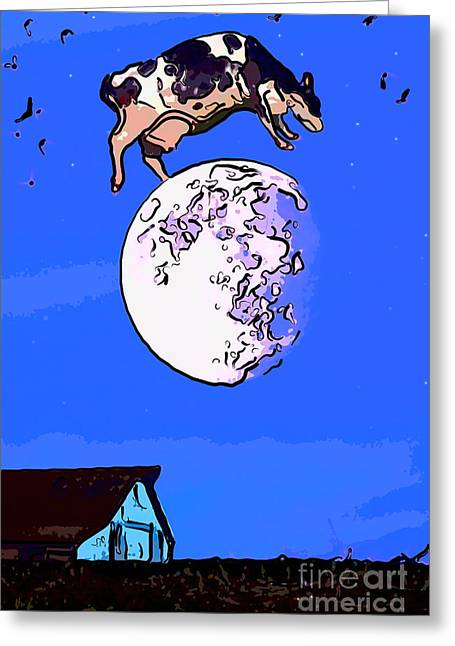 The Cow Jumped Over The Moon Again Greeting Card