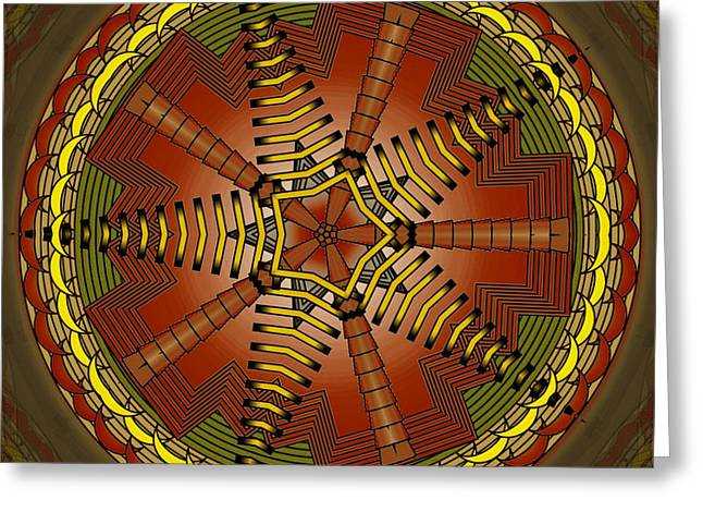 Greeting Card featuring the digital art The Crescents And Wiry Star by Mario Carini