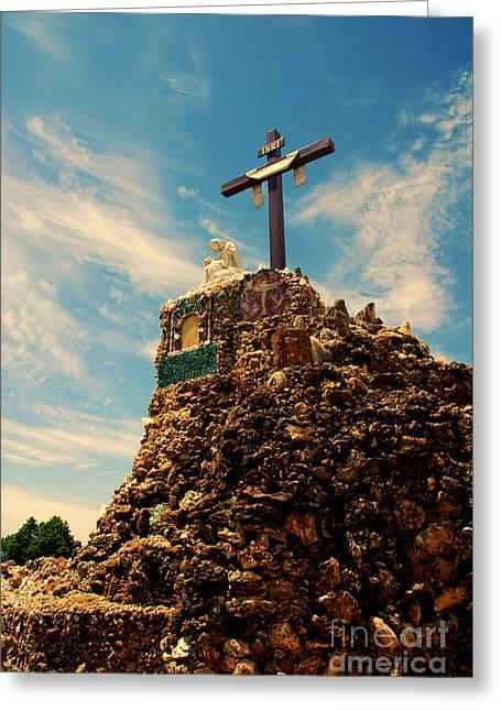 The Cross II In The Grotto In Iowa Greeting Card by Susanne Van Hulst