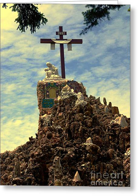 The Cross IIi In The Grotto In Iowa Greeting Card by Susanne Van Hulst
