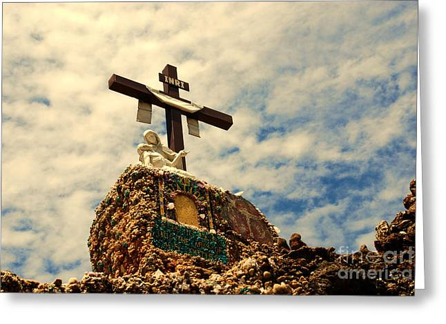 The Cross In The Grotto In Iowa Greeting Card by Susanne Van Hulst