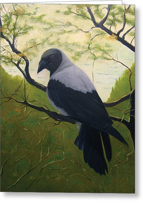 Greeting Card featuring the painting The Crow by Tone Aanderaa