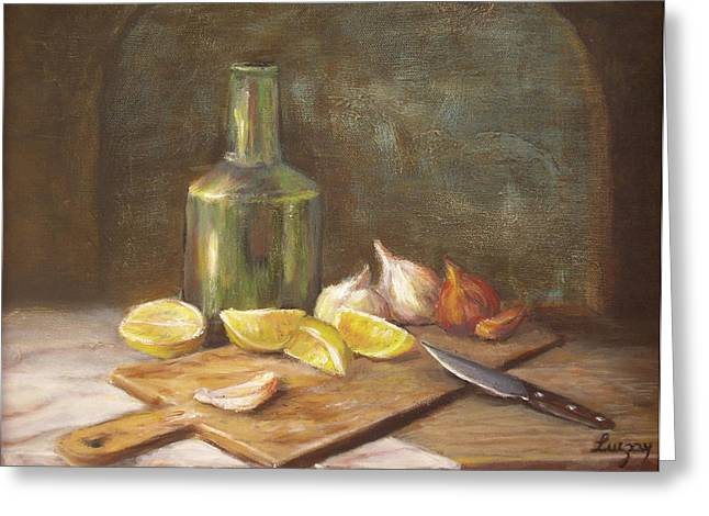 Greeting Card featuring the painting The Cutting Board by Luczay