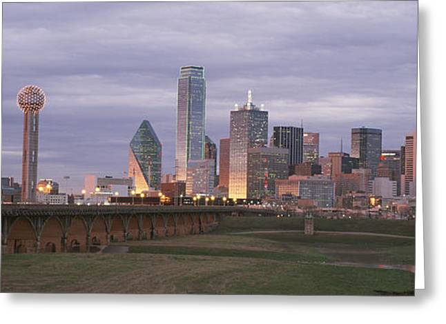 The Dallas Skyline At Dusk Greeting Card by Richard Nowitz