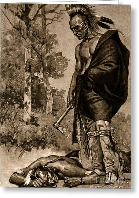 The Death Of Pontiac, 1769 Greeting Card by Photo Researchers