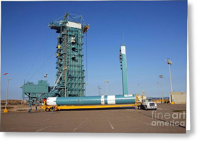 The Delta II First Stage Greeting Card by Stocktrek Images