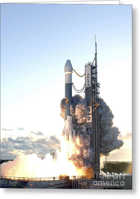 The Delta II Rocket Lifts Greeting Card by Stocktrek Images