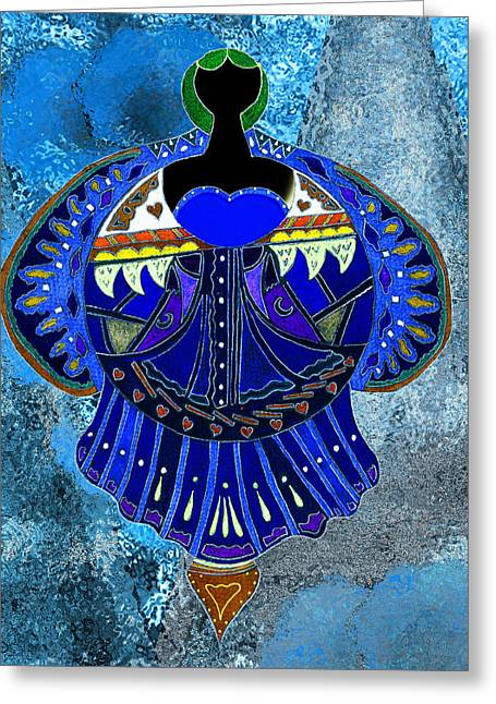 The Denim Goddess Greeting Card by Lori Kirstein
