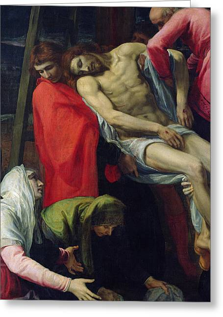 The Descent From The Cross Greeting Card by Bartolome Carducci