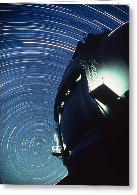 The Dome Of The Keck Telescope And Star Trails Greeting Card by Dr Fred Espenak