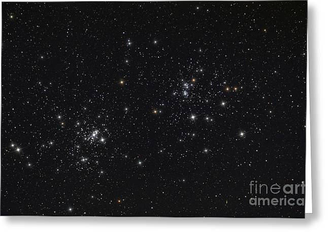 The Double Cluster In The Constellation Greeting Card by Rolf Geissinger