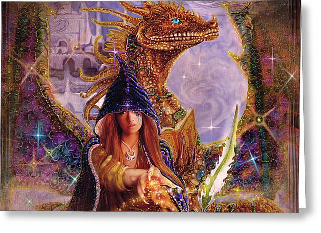 Greeting Card featuring the painting The Dragon Master by Steve Roberts