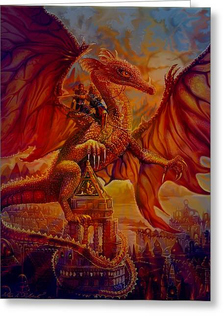 Greeting Card featuring the painting The Dragon Riders by Steve Roberts