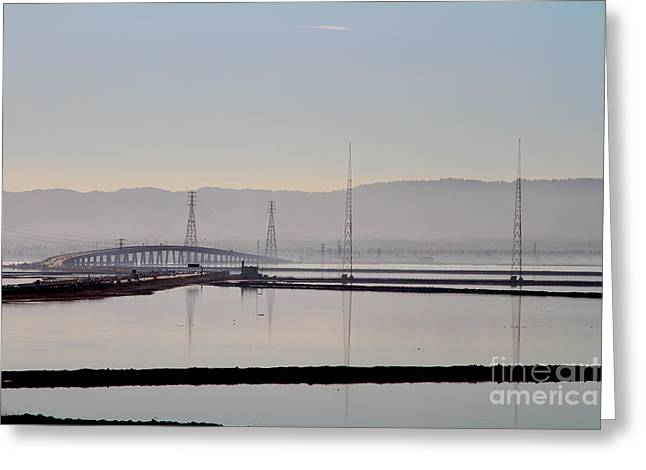 The Dumbarton Bridge In The Bay Area Viewed Through Coyote Hills California . 7d10961 Greeting Card by Wingsdomain Art and Photography