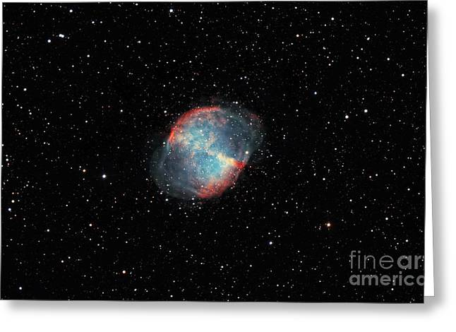The Dumbbell Nebula Greeting Card by Rolf Geissinger
