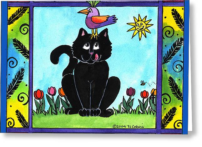 The Early Cat Gets The Bird Greeting Card by Pamela  Corwin