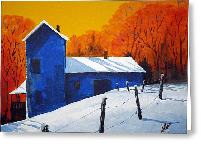 Greeting Card featuring the painting The Early Snow by Jim Phillips
