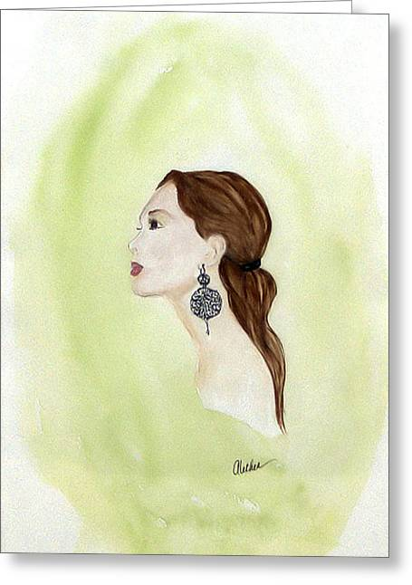 Greeting Card featuring the painting The Earring by Alethea McKee