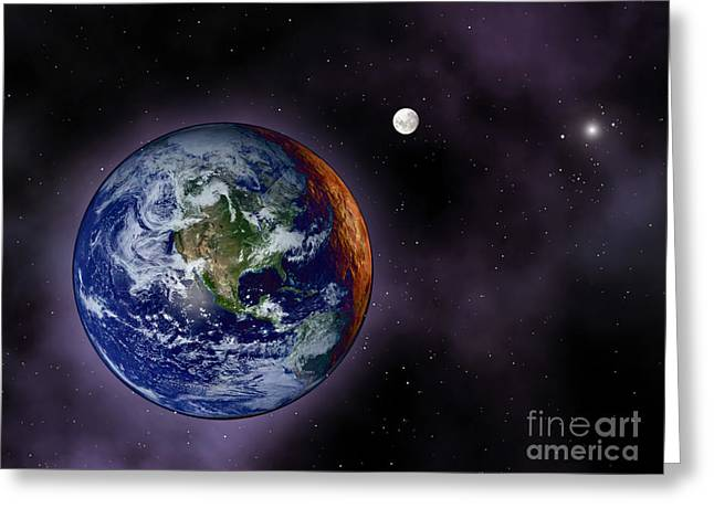The Earth Shown At The Outer Edges Greeting Card