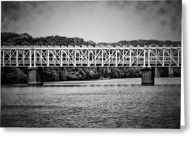 The East Falls Bridge In Black And White Greeting Card by Bill Cannon