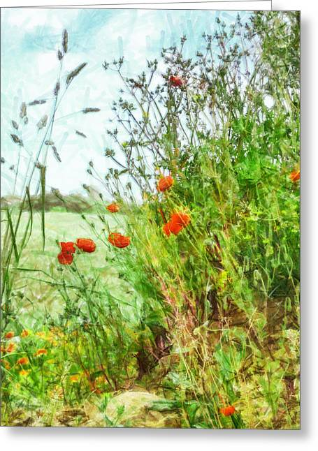 Greeting Card featuring the digital art The Edge Of The Field by Steve Taylor