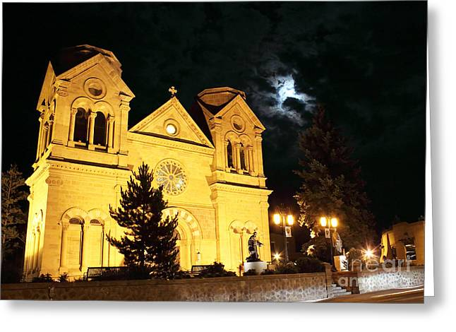The Eery Side Of St. Francis Cathedral Greeting Card by Val Armstrong