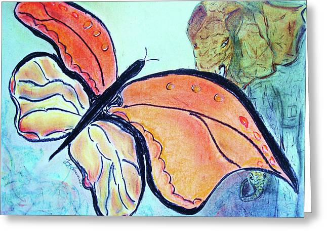 The Elephant In The Garden Greeting Card by Joy Braverman