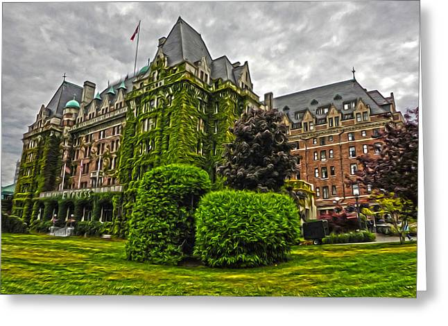 The Empress Hotel On Victoria Island Greeting Card by Gregory Dyer