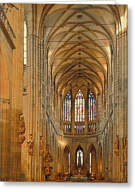 The Enormous Interior Of St. Vitus Cathedral Prague Greeting Card