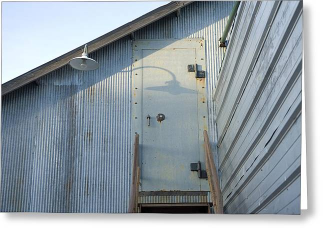 The Entry To A Metal Shed On A Sawmill Greeting Card by Joel Sartore