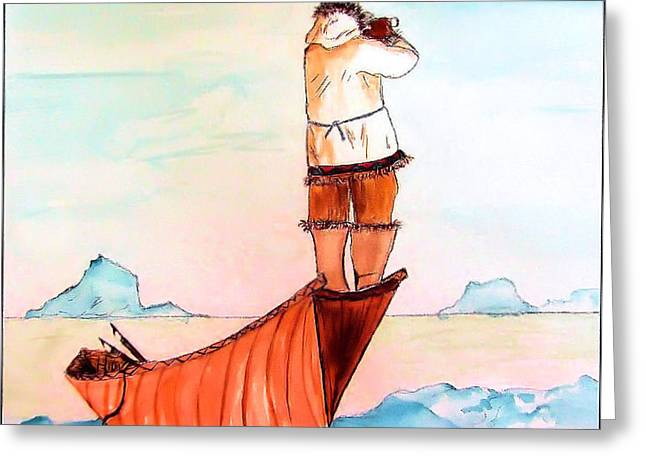 The Eskimo Hunter Greeting Card by Alethea M