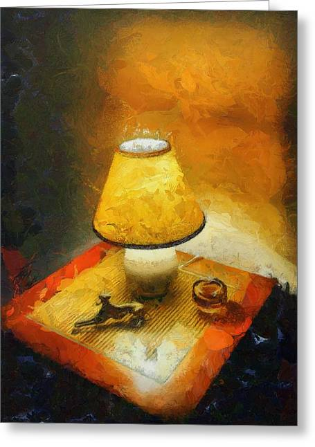 The Evening Lamp Greeting Card