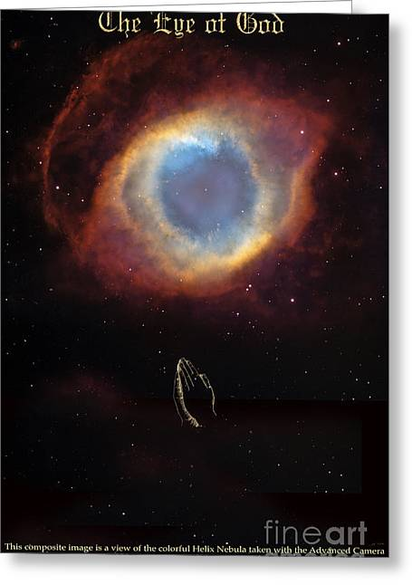 The Eye Of God And Praying Hands Greeting Card