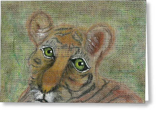 Greeting Card featuring the mixed media The Eyes Have It by Joy Braverman