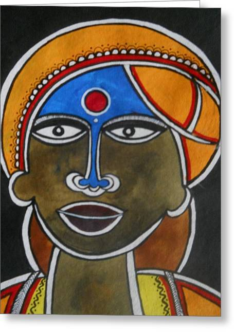The Face Greeting Card by Paritosh Pal