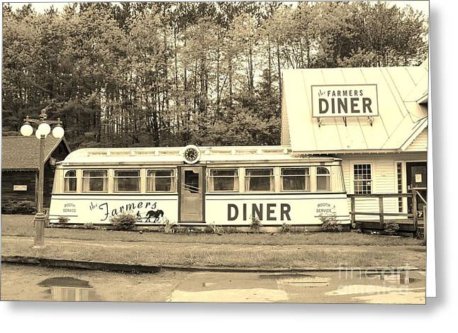 Greeting Card featuring the photograph The Farmers Diner In Sepia by Sherman Perry