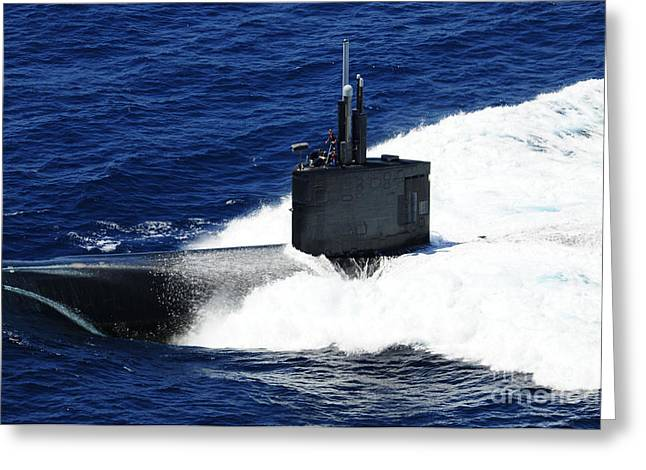 The Fast-attack Submarine Uss Greeting Card by Stocktrek Images