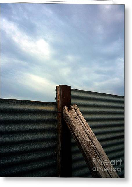 The Fence The Sky And The Beach Greeting Card