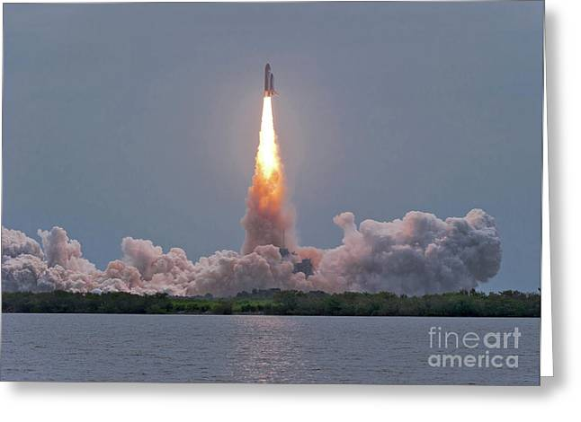The Final Launch Of Space Shuttle Greeting Card by John Davis