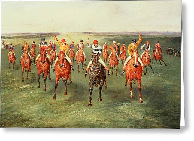 The Finish Of The Two Thousand Guineas At Newmarket Greeting Card by Samuel Henry Alken